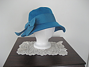 Blue Wool Floppy Hat