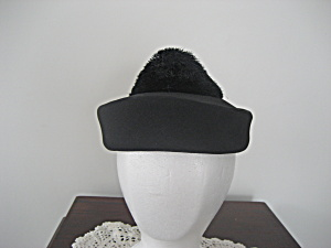 Black Caroline Pill Box Hat