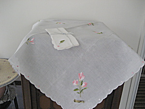 Embroidered Table Cloth With Matching Napkins