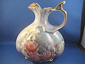 Gold Trimmed Hand Painted Pitcher