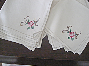 Ten Hand Embroidered Napkins