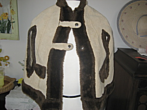 Child's Leather And Fur Cape