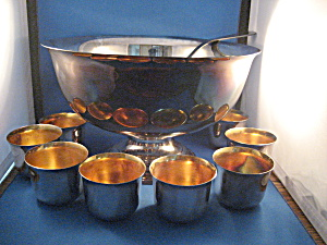 Silver Plated Punch Bowl, Eight Cups, And Silver Ladle