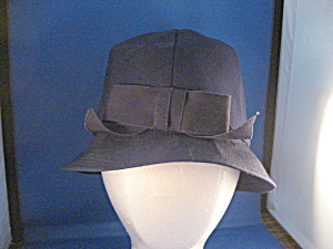 Blue Cloth Hat With Bow In Front