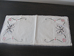 Hand Embroidered Butterfly Dresser Scarf