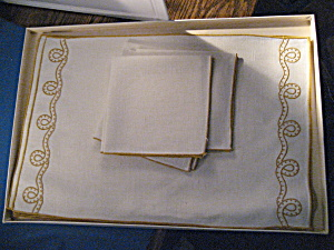 Gold Trimmed Place Mats And Matching Napkins