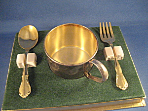 Silver Plated Child's Cup And Silverware From Oneida