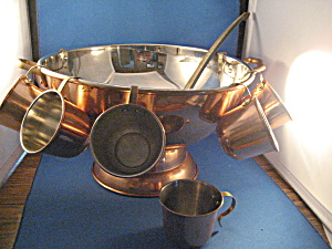 Copper Punch Bowl With Cups And Ladle