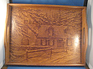 Wooden Tray With House Scene