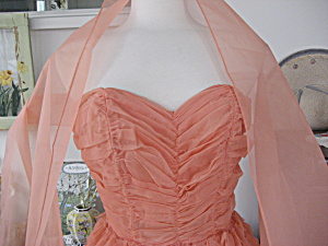 1940s - 1950s Orange Ruffle Prom Dress