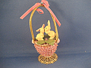 Home Made Easter Basket With Bunnies