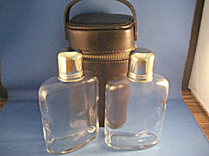Two Glass Flasks And Case