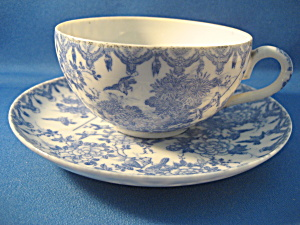 Blue Bird And Flower Cup And Saucer Set
