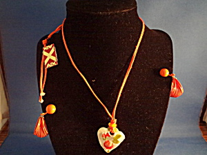 Pottery Heart Necklace With Painted Ring Earrings