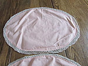Two Hand Made Pink Doilies
