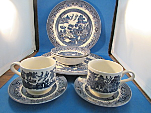Two Table Sets Of Blue Willow Dishes