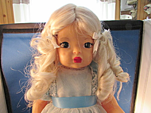 Jenni Lind Doll With Blue Dress And Bows