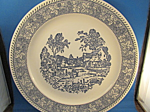 Large Blue Village Scene Platter