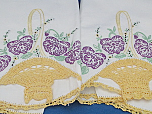 Basket Embroidered And Crocheted Pillow Cases