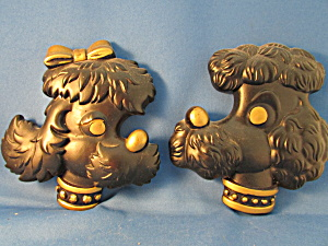 Chalkware Black Poodle Heads