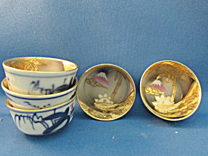 Five Hand Painted Sake Cups