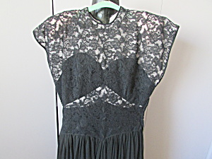 Hand Sewn Black Lace, Chiffon, And Taffeta Dress