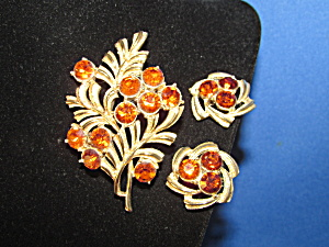 Coro Brooch And Earring Set