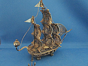 Silver Filigree Miniature Ship From Spain