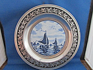 Delft Style Ceramic And Pewter Plate