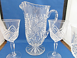 Cut Glass Crystal Pitcher And Two Matching Glasses