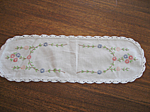 Oval Hand Embroidered Table Scarf