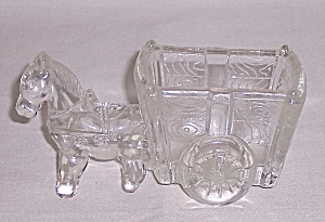 Figural Glass Candy Container -glass Pony And Two Wheeled Cart