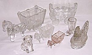 Figural Glass Candy Container - Small Glass Pony And Cart