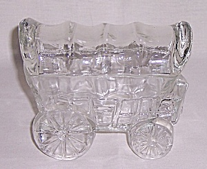 Figural Glass Candy Container - Prairie Schooner Wagon