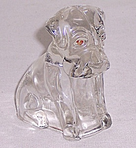 Figural Glass Candy Container / Figurine - Glass Mopey Dog - Hound Pup