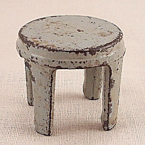 Kilgore, Cast Iron, Dollhouse Furniture, Gray Stool - A