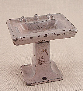 Kilgore, Cast Iron, Dollhouse Furniture, Mauve Bathroom Sink, Lavatory Stand - No. T-28