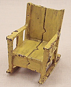 Kilgore, Cast Iron, Dollhouse Furniture, Yellow Rocking Chair
