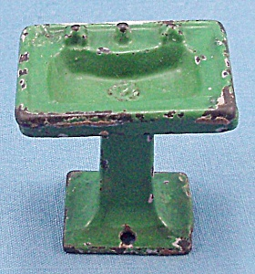 Kilgore, Cast Iron, Dollhouse Furniture, Green Bathroom Sink / Lavatory Stand