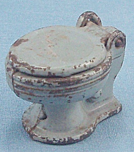 Kilgore, Cast Iron, Dollhouse Furniture, Commode, Baby Bluetoy Flush Seat