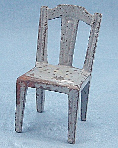Kilgore, Cast Iron, Dollhouse Furniture, Side Chair, Blue # 7