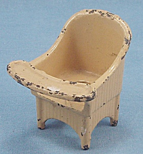 Kilgore - Cast Iron - Dollhouse Furniture - Nursery Chair - Yellow #8