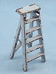 Kilgore Mfg. Co.-dollhouse Toy - Cast Iron - Folding Stepladder- Gray