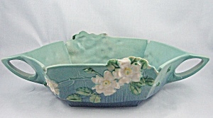Roseville White Rose Console Bowl, 393-12