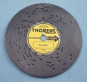 "Vintage Thorens 4 ½"" Music Box Disc, ""rose-marie"""