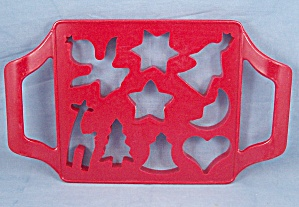 Joined Red Plastic Holiday Cookie Mold