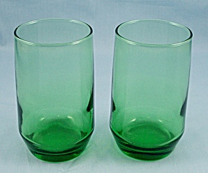 2 - Forest Green Tumblers - 4-inch Anchorglass