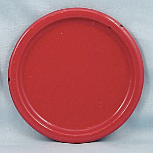 Columbian Enameled / Granite Ware Coaster - Terre Haute, Indiana - Red A