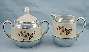 Bavaria - Luster Ware - Cream Pitcher And Covered Sugar Bowl
