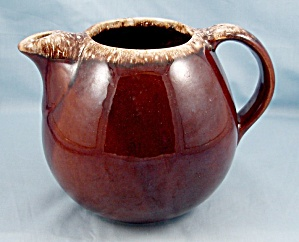 Hull - Brown Drip Pitcher - Round/ Ball Shaped